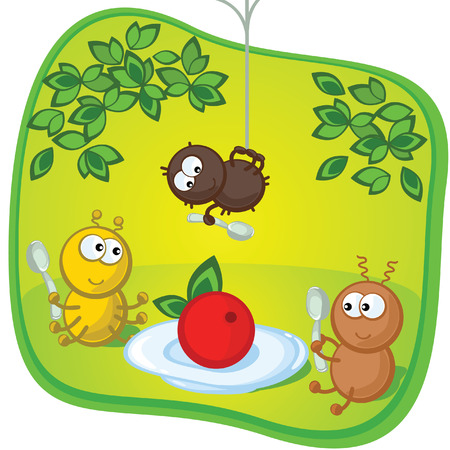 Lovely comical insects have dinner. A background green. For children.