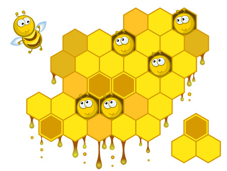 Comical bees sit in honeycombs. One bee calls them to collect medical. Isolated.