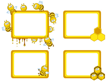 Set of frameworks. Comical cheerful bees. Medical. Honeycombs. Vector