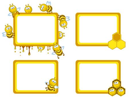 cute bee: Set of frameworks. Comical cheerful bees. Medical. Honeycombs.