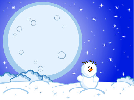 The lovely comical snowman. Winter night, the star sky. Christmas eve. A full moon. A background. Stock Vector - 8217705