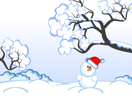 The lovely comical snowman. Winter day. Christmas eve.  A background.