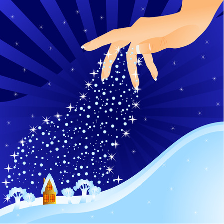 Winter fantastic night landscape. From heavens the hand scatters snow. Snow falls on a small house.
