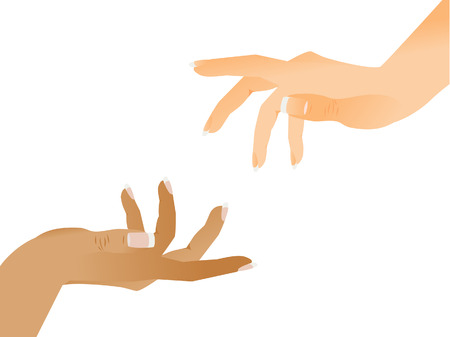 The help hand is stretched. Two hands.  Vector