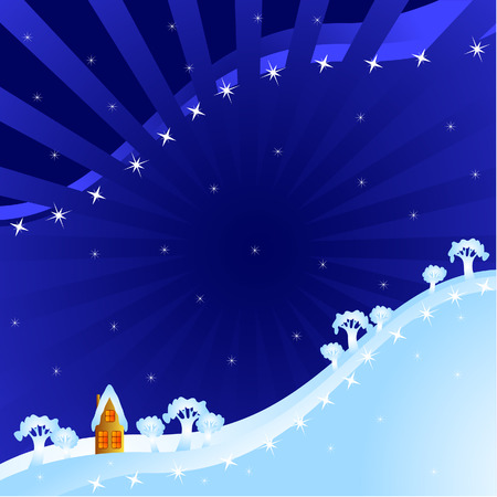 Winter fantastic night landscape.  Small house at the foot of a hill. Stock Vector - 8217711