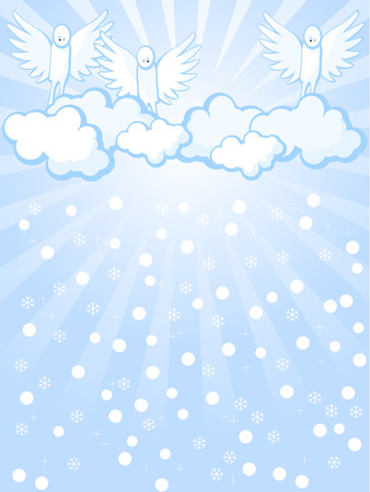 Background of blue color. Angels in heavens looks at falling snow. Vector
