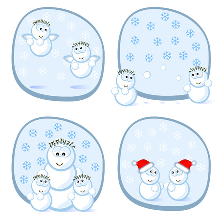Cheerful snowmens. Children and mum. A set of scenes. Isolated. Vector
