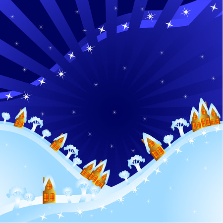 Winter background. A night rural landscape. Small  houses on mountains. Christmas abstraction. Vector