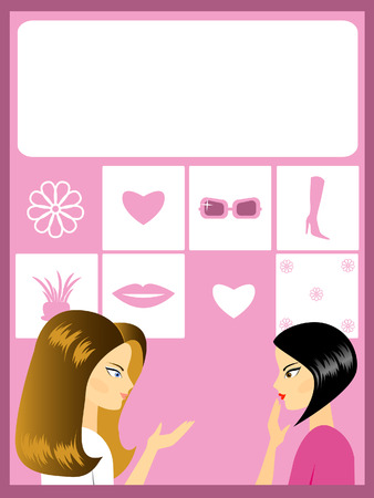 Two fine girls talk. Against various subjects. A framework. Vector