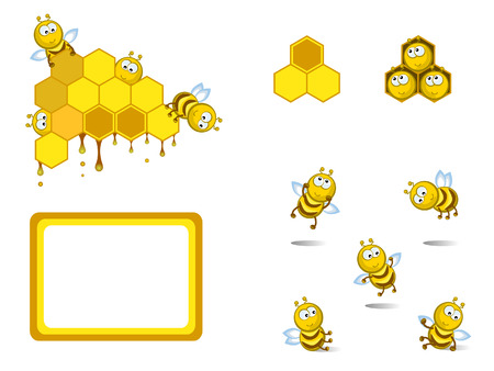 beehive: Set of decorative elements. Comical cheerful bees. Medical. Honeycombs. Illustration
