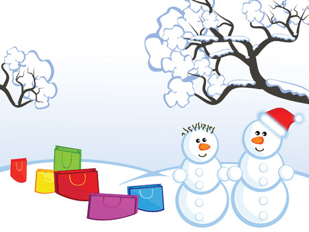 The Winter landscape. The Pair an snowmen. Around them packages with buying. Vector