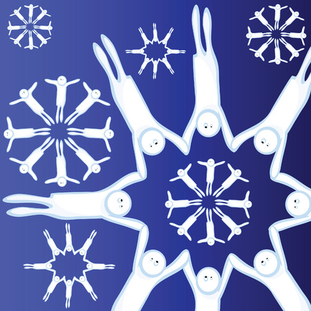 unrealistic: The Snowflakes, consisting of figures of people. The People holds for hands. Unrealistic flying snowflakes. The Winter. The Cristmas. Illustration