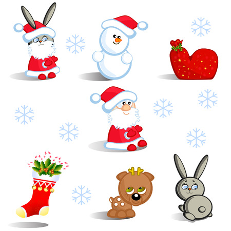 The Set insulated new year's figured. Santa, deer, hare. The Comics. Baby. Stock Vector - 8499520
