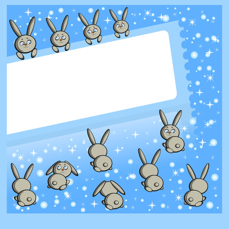 The New years frame. The Figures a hares around.The symbol of year on chinese calendar. The Snowflakes. Vector