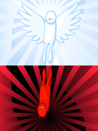The Reflection of angel there is daemon. Between good and evil. Religion. Christianity.   Vector