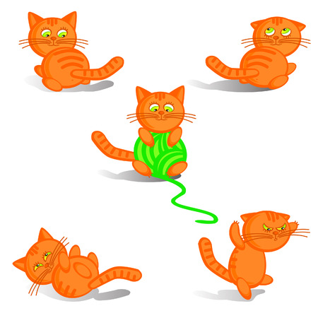 whisker characters: The Set isolate red kittens. The Comical merry figures. The Symbol of year on Chinese calendar.