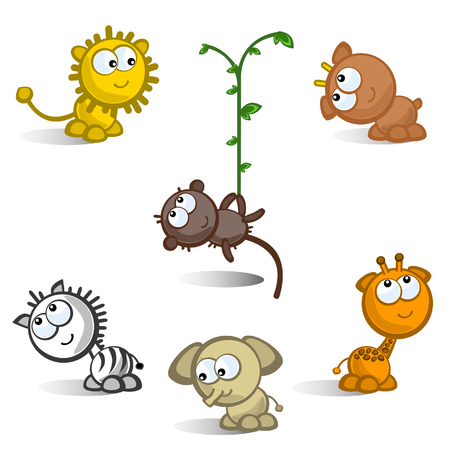 animals horned: A set of comic figures African animals. Isolated. Icons. Illustration