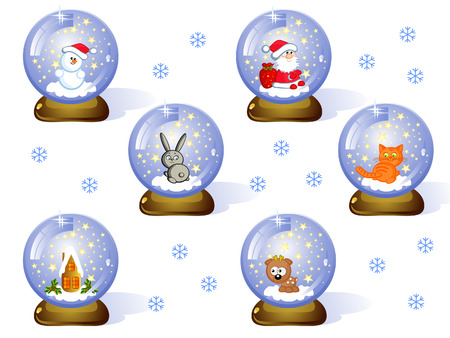 A set of Toys Glass Christmas balls. Inside it a comical Christmas figures. Vector. Isolated.  Stock Vector - 8508388