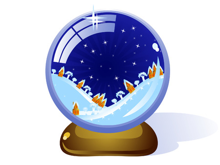 Toy Glass Christmas ball. Inside it a night winter landscape. Hills and houses. Vector. Vector