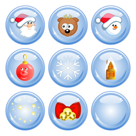 A set of buttons. Comical Christmas images. Isolated. Santa Claus, reindeer, a snowman. Vector