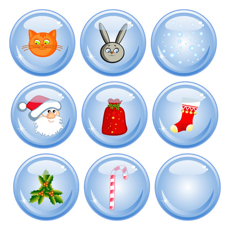 A set of buttons. Comical Christmas images. Isolated. Santa Claus, cat, rabbit, candy. Vector