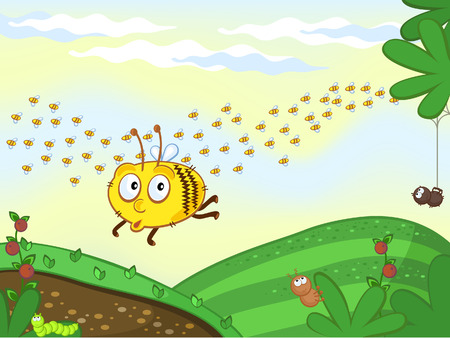 swarm: Funny bee flying over a meadow. Swarm. Different insects sitting on leaves. Illustration