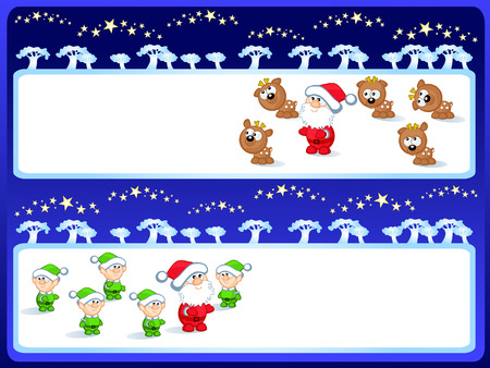 A set of  Christmas Backgrounds. Inside it a comical Christmas figures. Santa Claus, reindeers, elves. Stock Vector - 8508386
