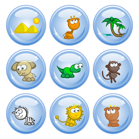 temperate: A set of buttons. Images comic African animals. Isolated. Illustration