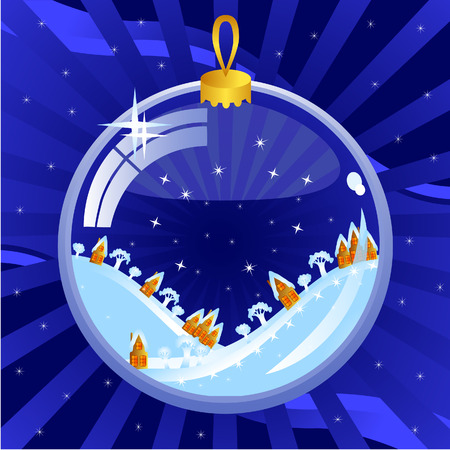 New Years background dark blue. Glass bowl. Inside it, a winter night scenery. Hills and small Dutch houses. Vector