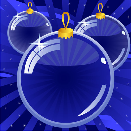 New Year's background dark blue. Three glass balls. Stock Vector - 8517696