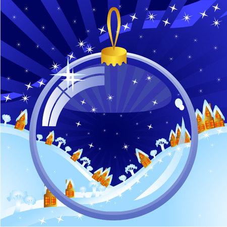 Clear Christmas ball on the background of a winter night scenery. Through it can be seen the hills and small houses. Vector