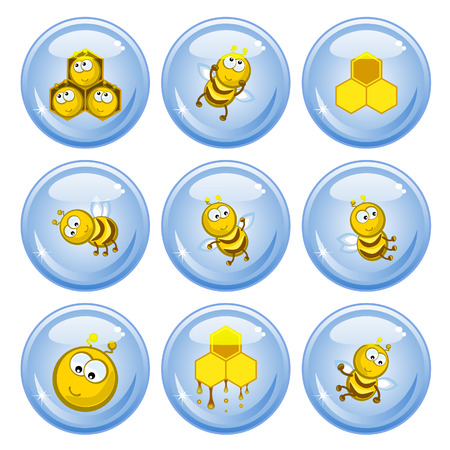 A set of buttons. Funny bees, honeycombs and honey.Comical images. Vector