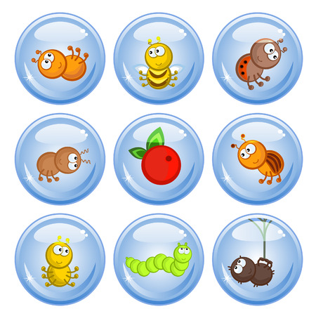 A set of buttons. Cheerful comical insects in different poses. Isolated. Icons. Vector