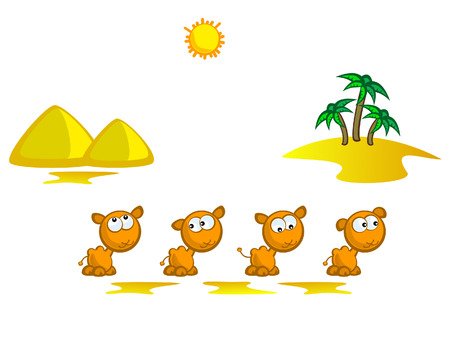 Caravan of camels going through the desert. The background of the pyramids and palm trees. Isolated. Comical.  イラスト・ベクター素材