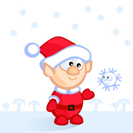 Cute Christmas elf catches a fun snowflake. Comics. Isolated. Background. Stock Vector - 8593653