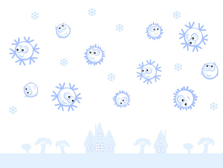 Winter background. Flying comic snowflakes. They smile. Isolated. Blue and white. Stock Vector - 8593655