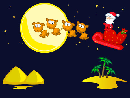 Santa Claus flies on camel cart. Night landscape, palm trees, sand, pyramids. Comics. Isolated. Vector