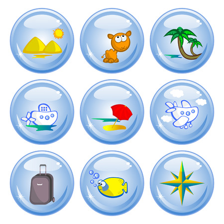 A set of buttons. Theme Travel in tropical countries. Comical images. Vector