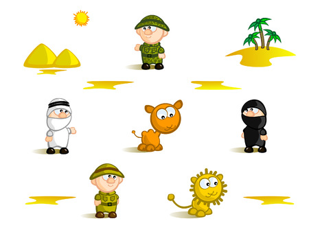 bedouin: A set of Isolated Comic figurines. Tourism theme.  Africa, safari, deserts. National flavor.