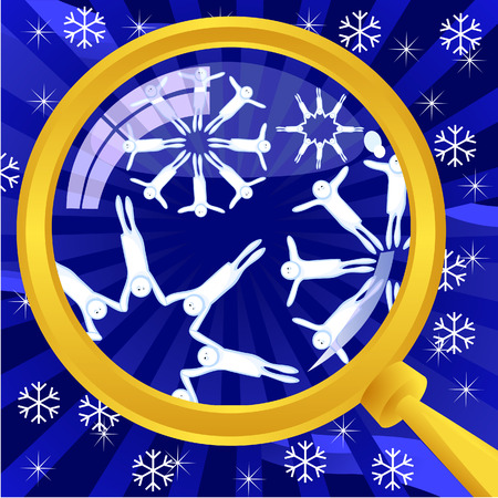 The original abstract Vector winter background. Snowflakes under a magnifying glass. Snowflakes are made up of little people holding hands. Stock Vector - 8730690