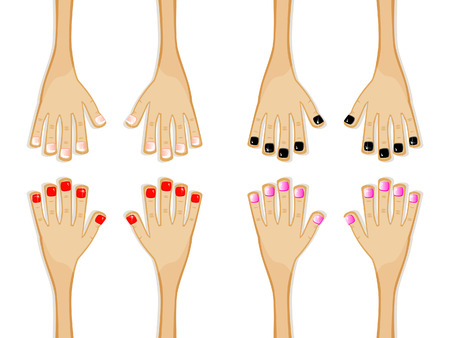 Various versions of nail polish. French manicure, gothic, glamorous. Set of isolated comical images. Vector