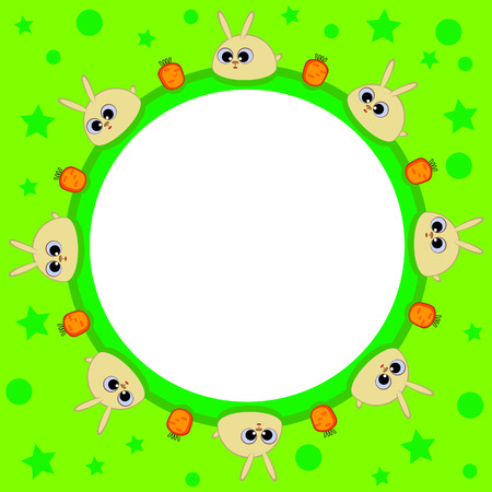 Within a round shape. Children. Green. Cute bunnies and carrots. Easter. Vector