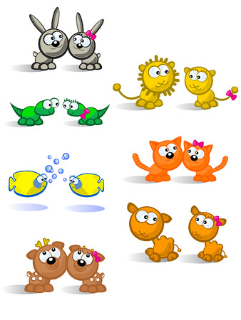 Comical pair of cute animals of each species. White background. Male and female isolated.