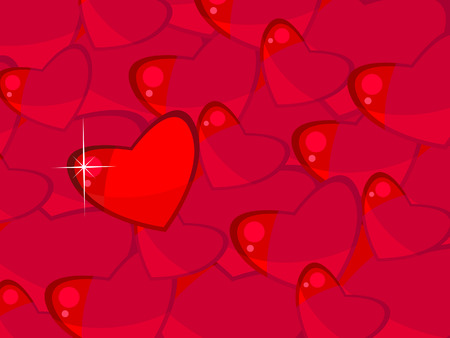 everyone: Vector background with red hearts. Valentines Day. One stands out from everyone. Texture. Wallpaper. Illustration