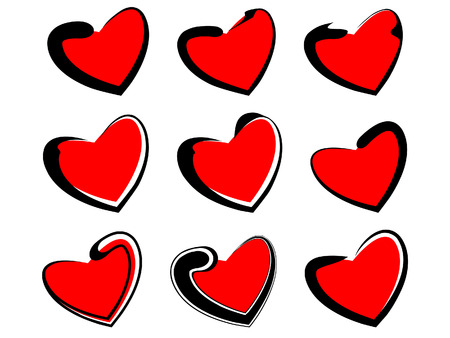 Vector set of isolated hearts. Red and black on a white background. Valentines Day. Vector