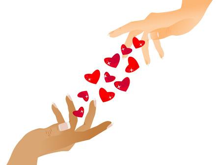 Une main donne une autre belles coeurs. Félicitations à la Saint Valentin heureuse. Isolé. Vecteurs