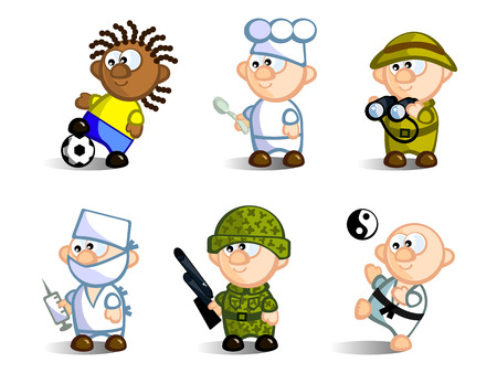 A set of cartoon figures, representatives of various professions. Footballer, chef, doctor, soldier, Karate, naturalist. Isolated on white background. Icons. Vector