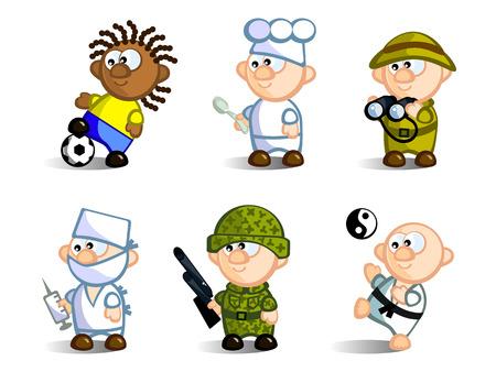 chirurg: Eine Reihe von Comicfiguren, Vertreter der verschiedenen Berufe. Fu�ballspieler, Chef, Arzt, Soldat, Karate, Naturforscher. Isolated on white Background. Icons. Illustration