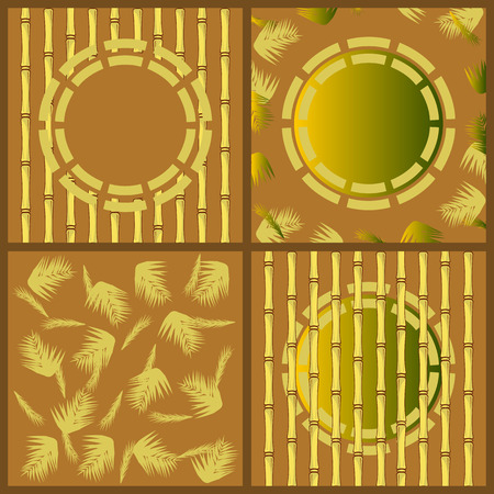 A set of decorative items. Bamboo. Oriental motifs. Brown. Stock Vector - 8926832
