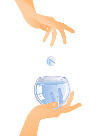 paracetamol: Dissolution of the tablets in a glass of water. Hand holds the glass. Another throws tablet. Illustration